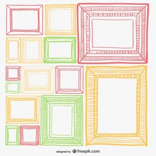 Colorful Retro Frames Set Free Vector