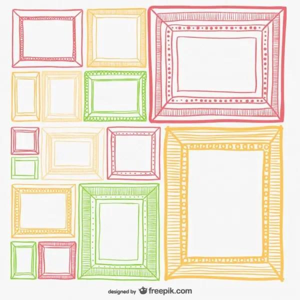 Colorful Retro Frames Set Free Vector