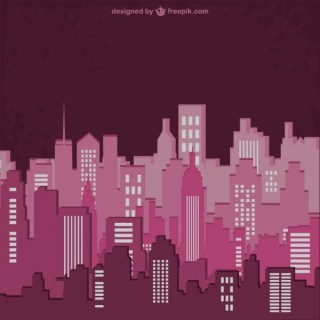 Colour Buildings Silhouette Free Vector