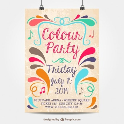 Colour Party Mock-Up Poster Free Vector