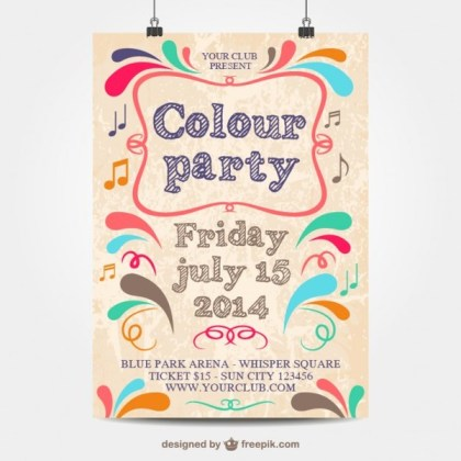 Colour Party Template Mock-Up Poster Free Vector