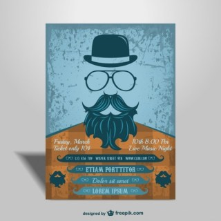 Concert Mock-Up Hipster Style Poster Free Vector