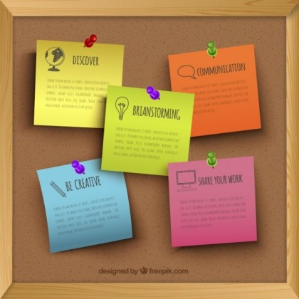 Cork Board with Pinned Notes Free Vector