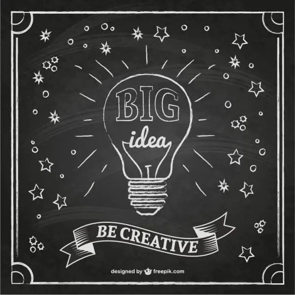 Creative Idea with Blackboard Texture Free Vector