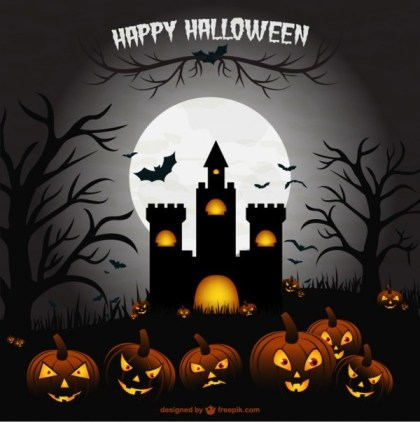 Creepy Halloween Castle Illustration Scene Free Vector
