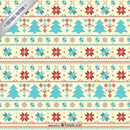 Cross Stitch Style Christmas Pattern Free Vector