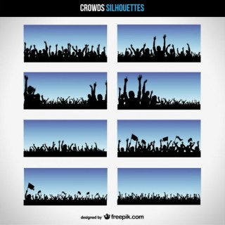 Crowd Silhouettes Free Vector