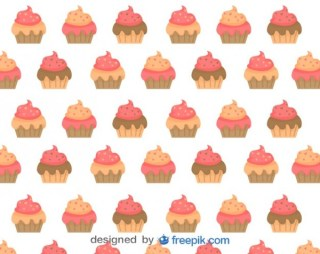 Cupcakes Background Design Free Vector