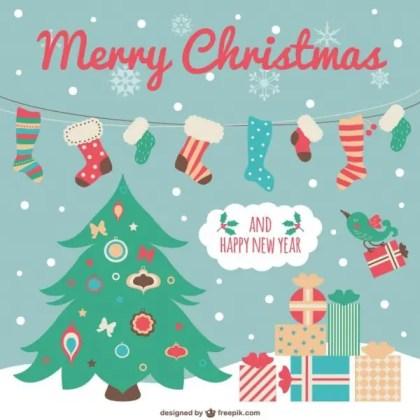 Cute Christmas Card with Cartoons Free Vector