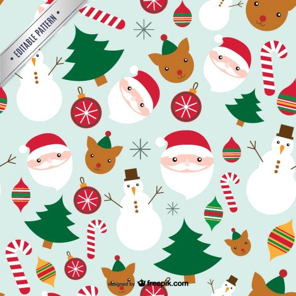 Cute Christmas Pattern Free Vector