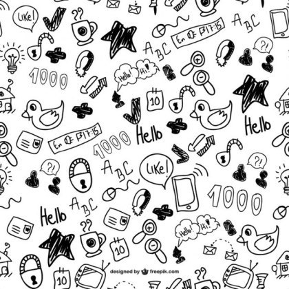 Cute Doodles Seamless Pattern Free Vector