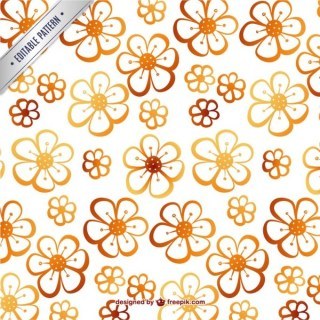 Cute Flowers Editable Pattern Free Vector