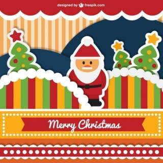 Cute Merry Christmas Card Free Vector