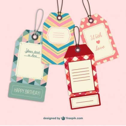 Cute Retro Label Tags Free Vector