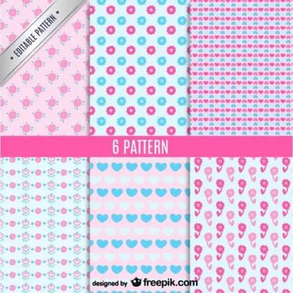 Cute Seamless Patterns Set Free Vector