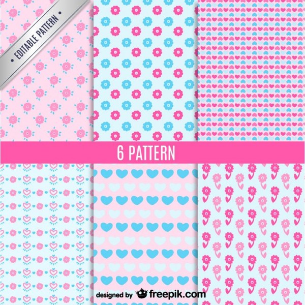 Cute Seamless Patterns Set Free Vector