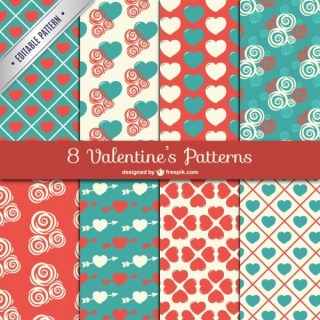 Cute Valentine Patterns Free Vector