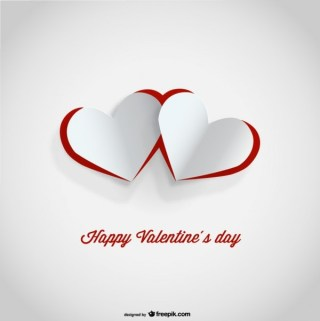 Cutout Paper Hearts Valentine's Day Card Design Free Vector