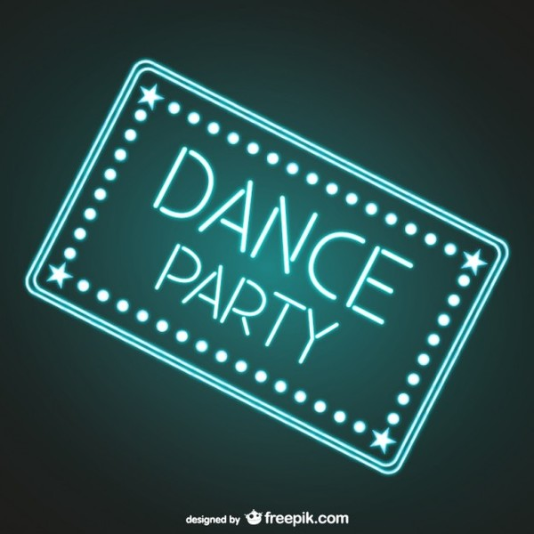 Dance Party Neon Sign Free Vector