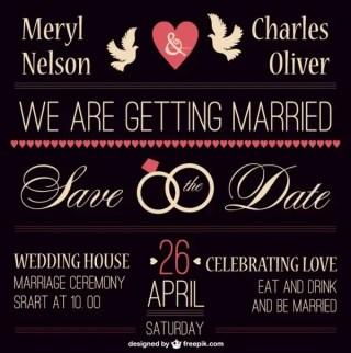 Dark Vintage Wedding Invitation Free Vector