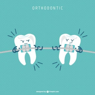 Dental Braces Cartoon Free Vector