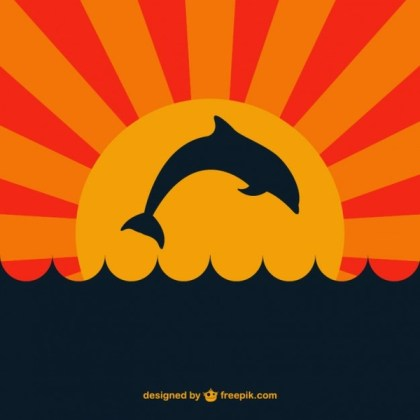 Dolphin in Sunset Free Vector