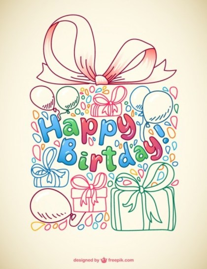 Doodle Birthday Card Free Vector
