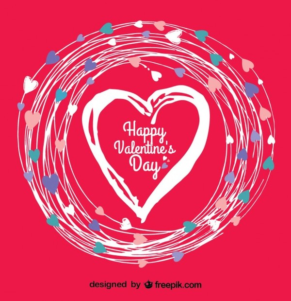 Doodle Heart Valentine's Day Card Free Vector