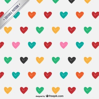 Doodle Hearts Pattern Free Vector