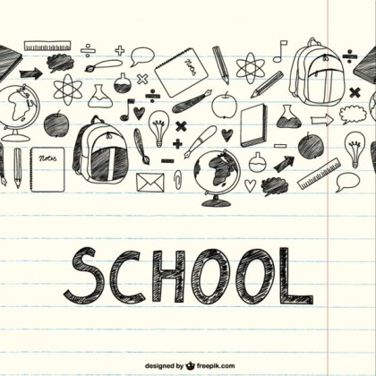 Drawing School Items on A Notebook Free Vector