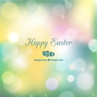 Easter Card in Bokeh Style Free Vector