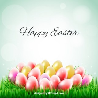 Easter Card with Colorful Eggs on The Grass Free Vector