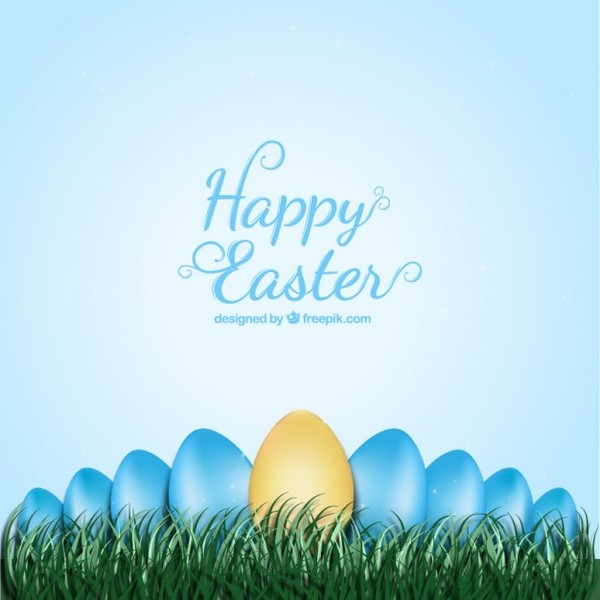 Easter Card with Easter Eggs in The Grass Free Vector