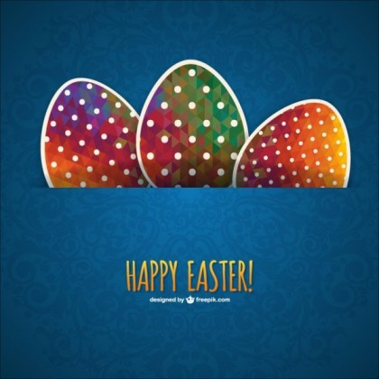 Easter Eggs Card Template Free Vector