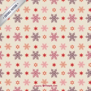 Editable Christmas Pattern with Snowflakes Free Vector