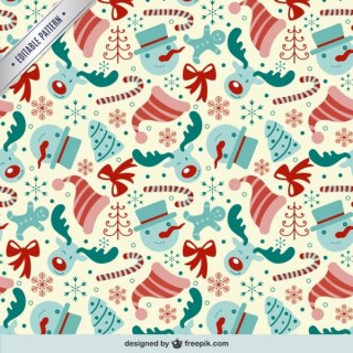 Editable Pattern with Christmas Elements Free Vector