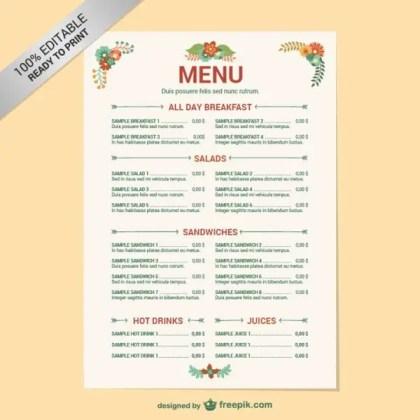Editable Restaurant Menu Template Free Vector