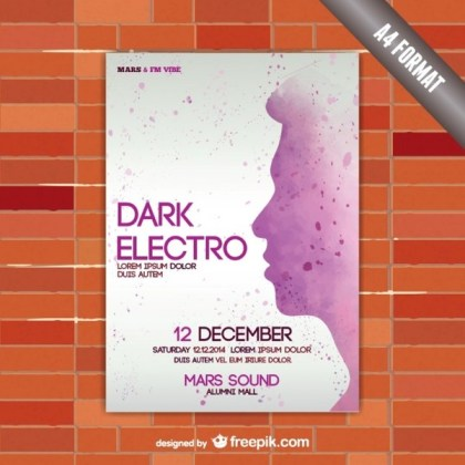 Electro Party Mockup Poster Free Vector