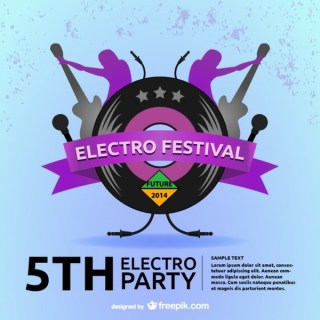 Electro Retro Music Backgrond Free Vector