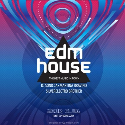 Electronic Dance Music Poster Free Vector