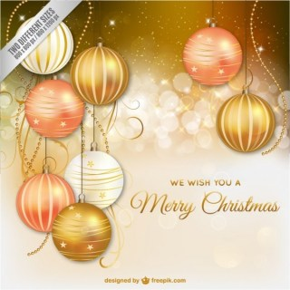 Elegant Christmas Card with Golden Baubles Free Vector