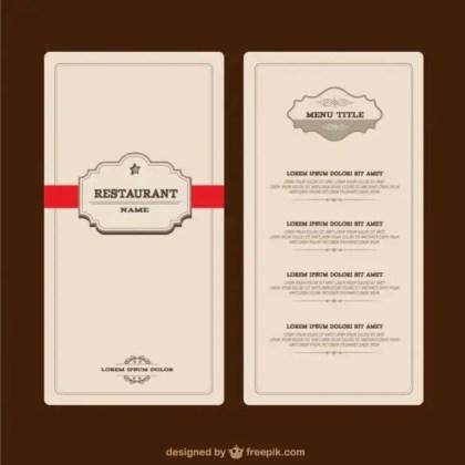 Elegant Restaurant Menu Free Vector