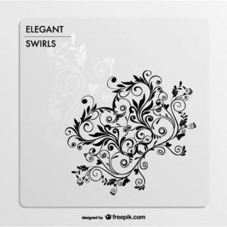 Elegant Swirls Ornaments Card Free Vector
