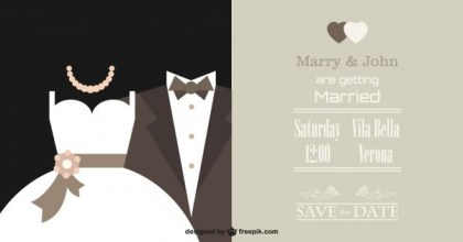 Elegant Wedding Invitation Free Vector