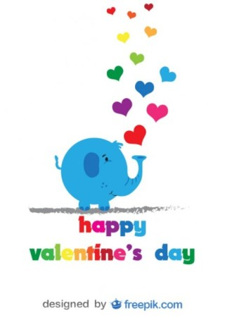 Elephant and Colorful Hearts – Card with Cartoon Free Vector