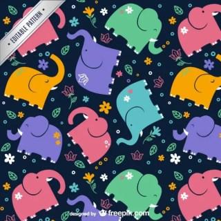 Elephants Pattern Free Vector
