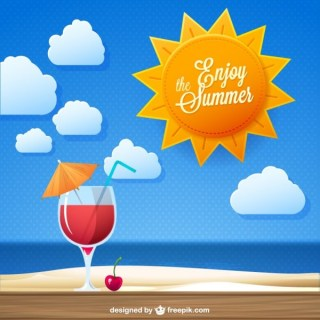 Enjoy The Summer Cocktail Drink Free Vector
