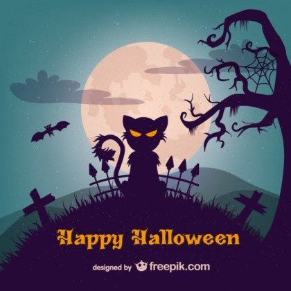 Evil Cat Halloween Illustration Template Free Vector