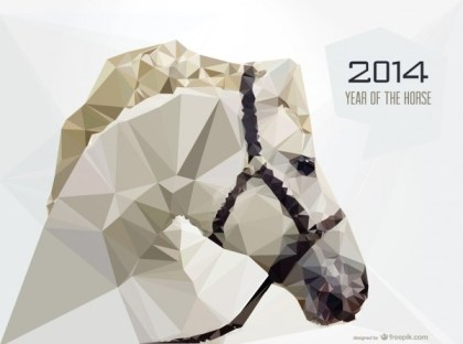 Exquisite Horse Triangle Design Free Vector