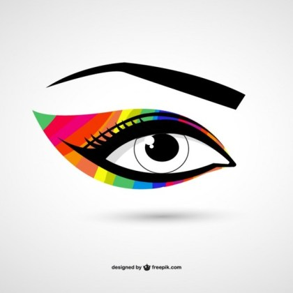 Eye Colorful Make-Up Free Vector